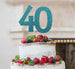 40th Birthday Cake Topper - Glitter Card Light Blue