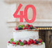 40th Birthday Cake Topper Glitter Card Light Pink