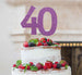 40th Birthday Cake Topper Glitter Card Light Purple
