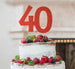 40th Birthday Cake Topper Glitter Card Red