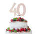 40th Birthday Cake Topper Glitter Card White