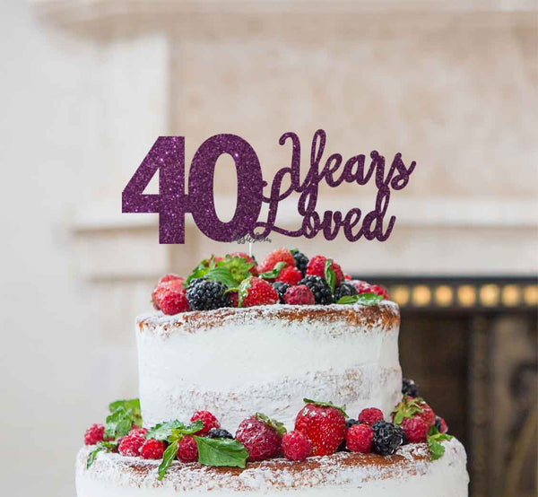 40 Years Loved Cake Topper 40th Birthday Glitter Card Dark Purple