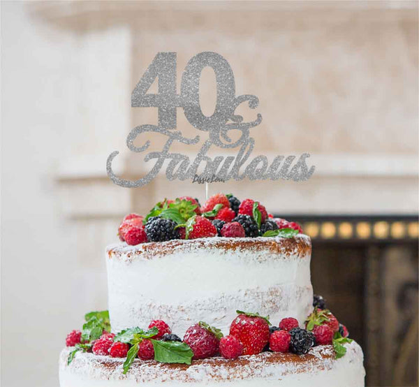 40 & Fabulous Cake Topper 40th Birthday Glitter Card Silver
