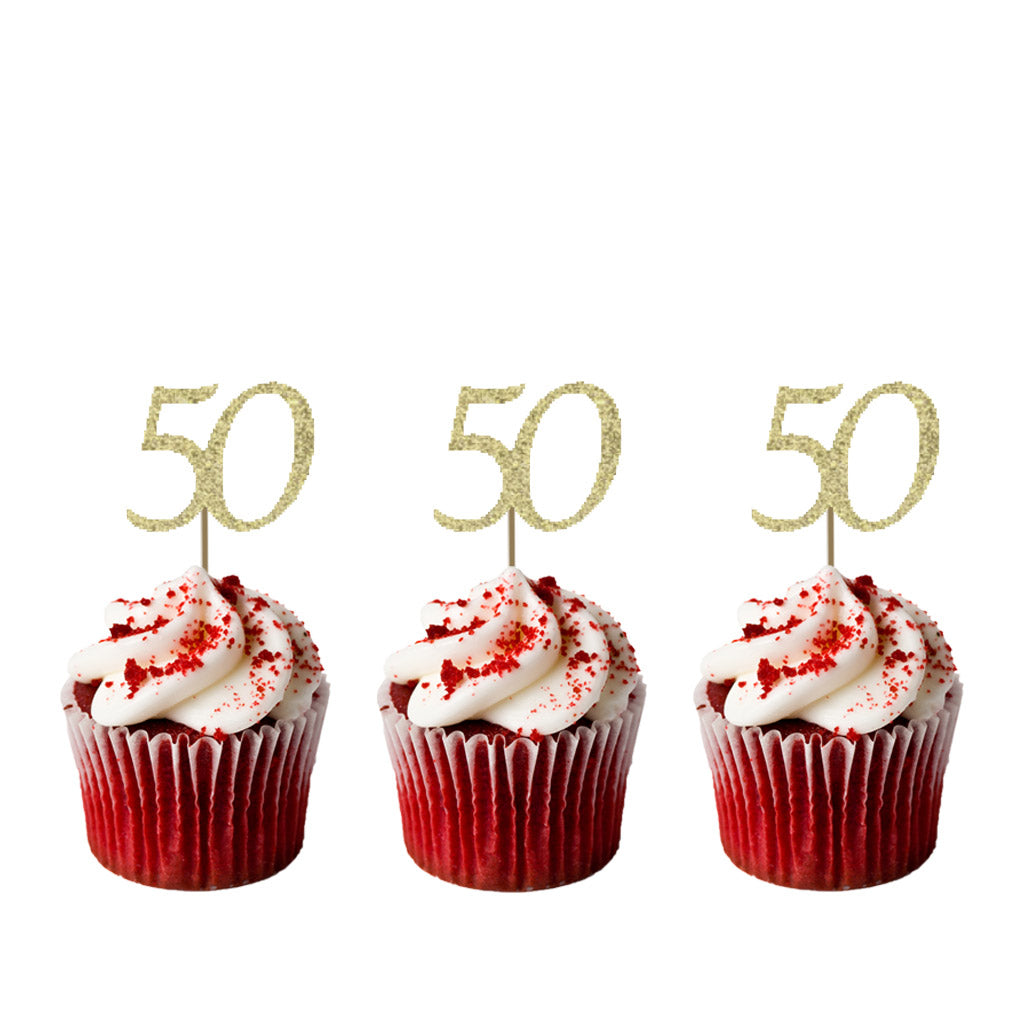 50th Birthday Glitter Cupcake Toppers Gold