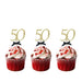 50th Birthday Glitter Cupcake Toppers with Bows Gold and Black