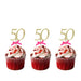 50th Birthday Glitter Cupcake Toppers with Bows Gold and Hot Pink