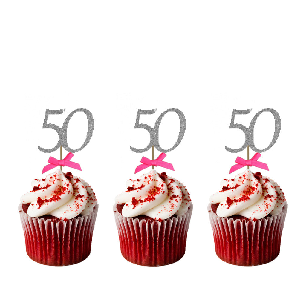 50th Birthday Glitter Cupcake Toppers with Bows Silver and Hot Pink