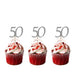 50th Birthday Glitter Cupcake Toppers with Bows Silver and Light Pink