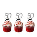 50th Birthday Glitter Cupcake Toppers with Bows Silver and Black