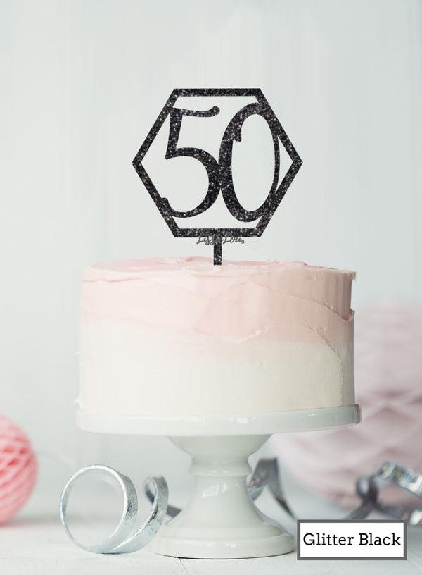 Hexagon 50th Birthday Cake Topper Premium 3mm Acrylic Glitter Black