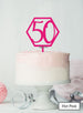 Hexagon 50th Birthday Cake Topper Premium 3mm Acrylic Hot Pink