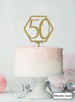 Hexagon 50th Birthday Cake Topper Premium 3mm Acrylic Metallic Gold