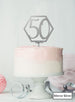 Hexagon 50th Birthday Cake Topper Premium 3mm Acrylic Mirror Silver