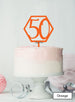 Hexagon 50th Birthday Cake Topper Premium 3mm Acrylic Orange