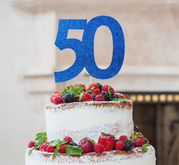 50th Birthday Cake Topper - Glitter Card Dark Blue
