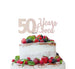 50 Years Loved Cake Topper 50th Birthday Glitter Card White