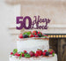 50 Years Loved Cake Topper 50th Birthday Glitter Card Dark Purple