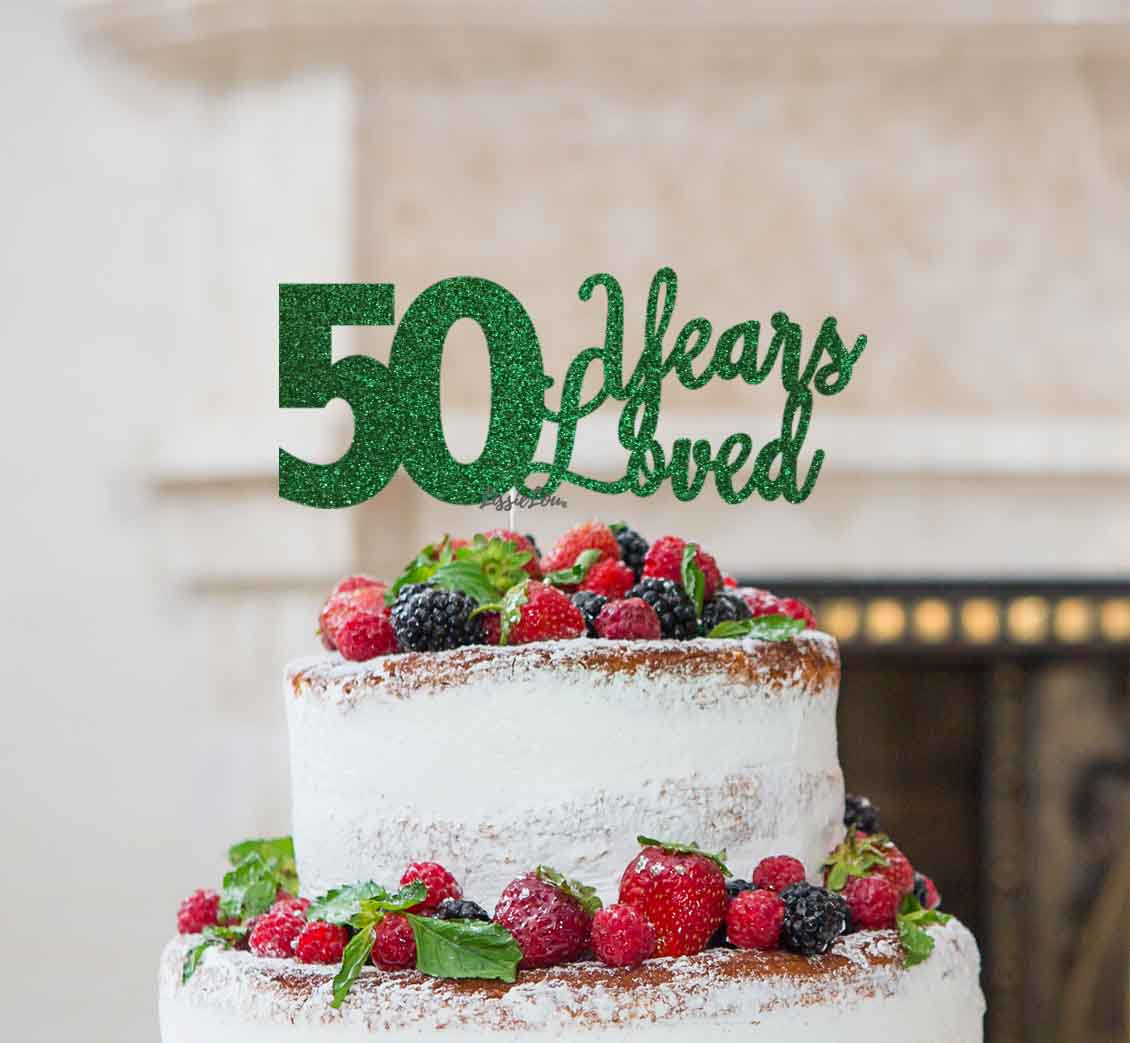 Brilliant 50 Years Loved Cake Topper 50Th Birthday Glitter Card Lissielou Funny Birthday Cards Online Alyptdamsfinfo