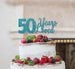 50 Years Loved Cake Topper 50th Birthday Glitter Card Light Blue