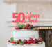 50 Years Loved Cake Topper 50th Birthday Glitter Card Light Pink
