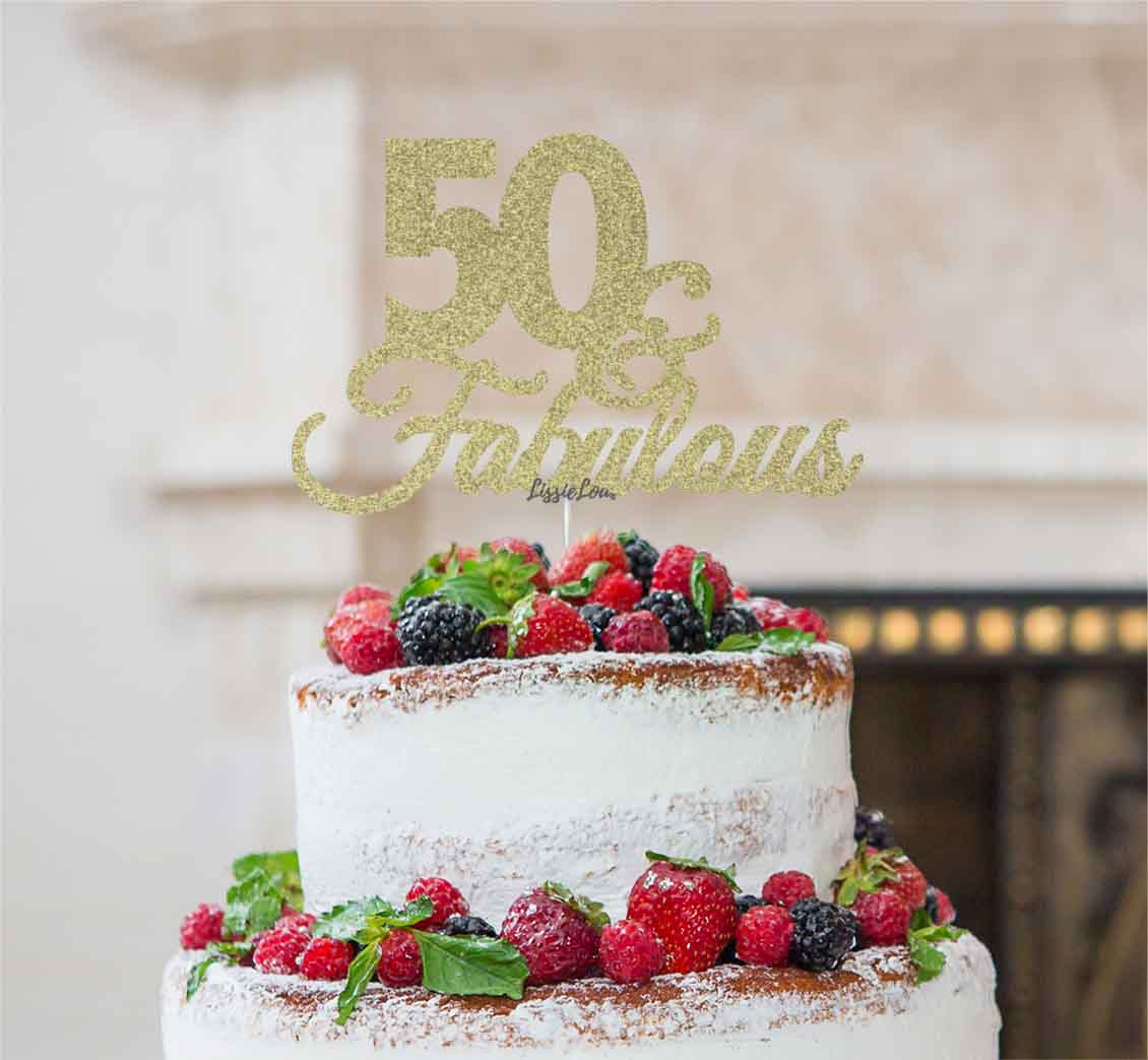 Awesome 50 Fabulous Cake Topper 50Th Birthday Glitter Card Lissielou Personalised Birthday Cards Bromeletsinfo