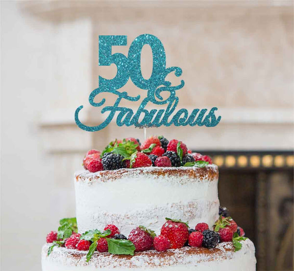 50 & Fabulous Cake Topper 50th Birthday Glitter Card Light Blue