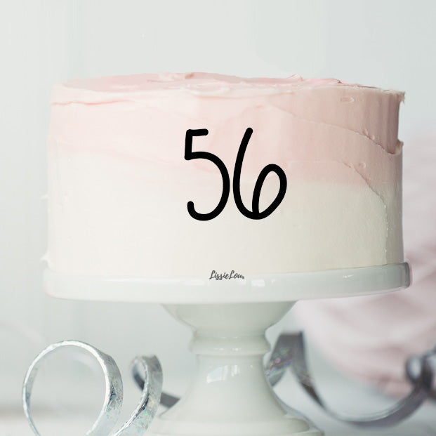 56 Font Style Number Cake Motif Premium 3mm Acrylic or Birch Wood