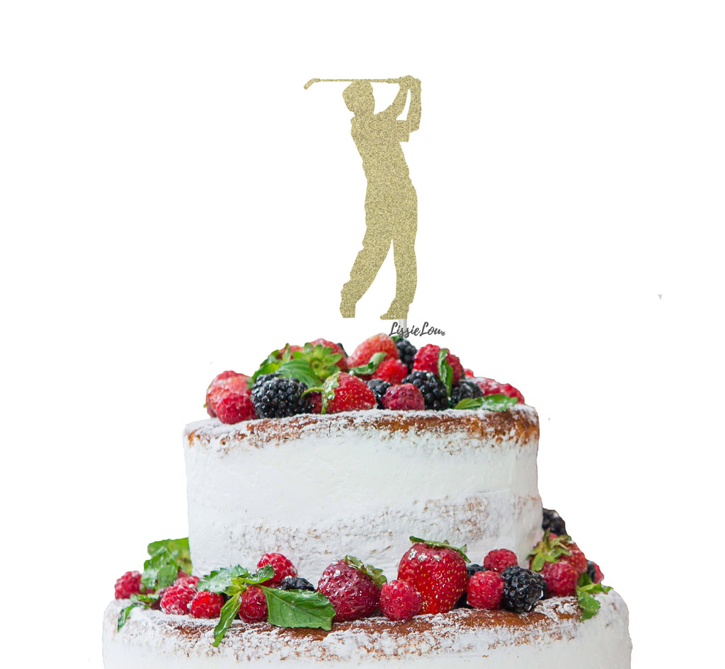 Golfer Male Cake Topper Glitter Card Gold