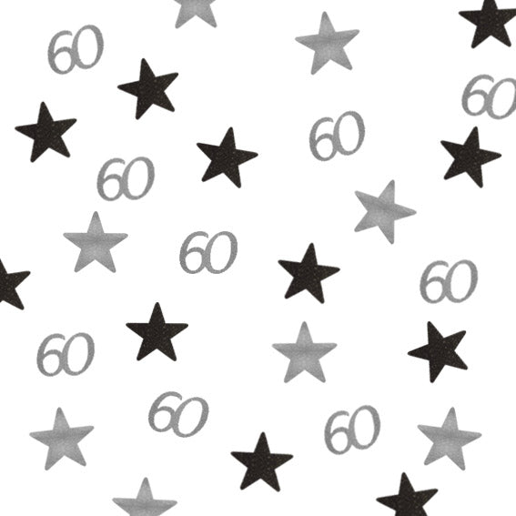 60th Birthday Glitter Star Table Confetti Silver and Black