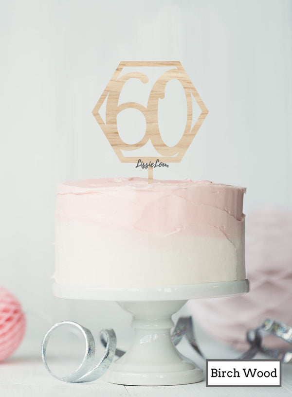 Hexagon 60th Birthday Cake Topper Premium 3mm Birch Wood