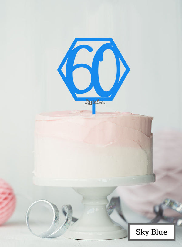 Hexagon 60th Birthday Cake Topper Premium 3mm Acrylic Sky Blue