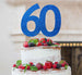 60th Birthday Cake Topper Glitter Card Dark Blue