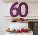 60th Birthday Cake Topper Glitter Card Dark Purple