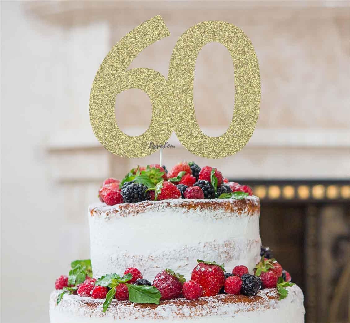 60th Birthday Cake Topper Glitter Card Gold