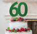 60th Birthday Cake Topper Glitter Card Green