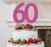 60th Birthday Cake Topper Glitter Card Hot Pink