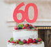 60th Birthday Cake Topper Glitter Card Light Pink