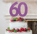 60th Birthday Cake Topper Glitter Card Light Purple