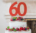 60th Birthday Cake Topper Glitter Card Red