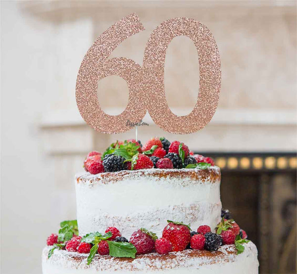 60th Birthday Cake Topper Glitter Card Rose Gold