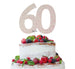 60th Birthday Cake Topper Glitter Card White