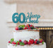 60 Years Loved Cake Topper 60th Birthday Glitter Card Light Blue