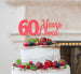 60 Years Loved Cake Topper 60th Birthday Glitter Card Light Pink