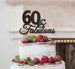 60 & Fabulous Cake Topper 60th Birthday Glitter Card Black