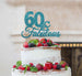 60 & Fabulous Cake Topper 60th Birthday Glitter Card Light Blue