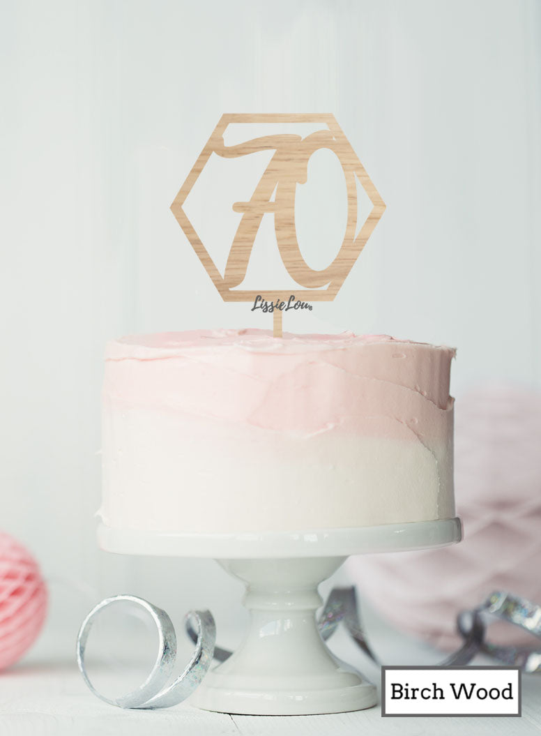 Hexagon 70th Birthday Cake Topper Premium 3mm Birch Wood