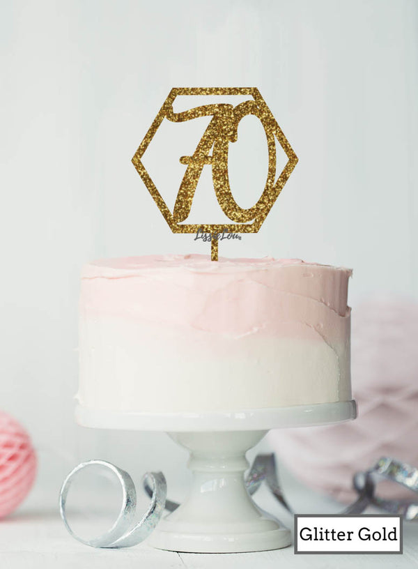 Hexagon 70th Birthday Cake Topper Premium 3mm Acrylic Glitter Gold