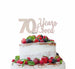 70 Years Loved Cake Topper 70th Birthday Glitter Card White