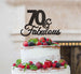 70 & Fabulous Cake Topper 70th Birthday Glitter Card Black