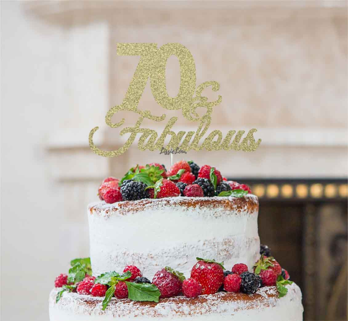Fab At 70: 70 & Fabulous Cake Topper 70th Birthday Glitter Card